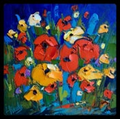 """Image of """"Popping Up Poppies"""" (dark blue hue)"""