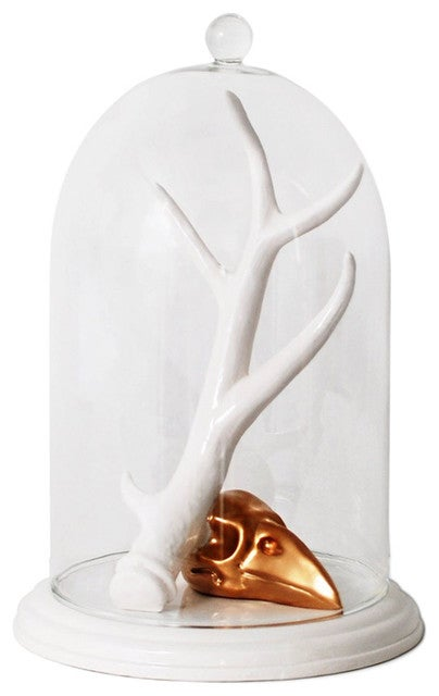 Image of Imm Living Antler and Raven Skull Glass Bell Jar Jewellery Holder