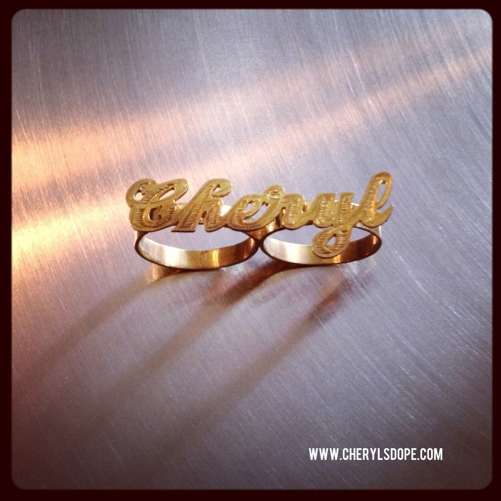 Image of 14K gold Personalized Two Finger Ring