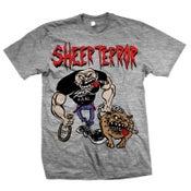 "Image of SHEER TERROR ""Bulldog Walker"" Heather Gray T-Shirt"