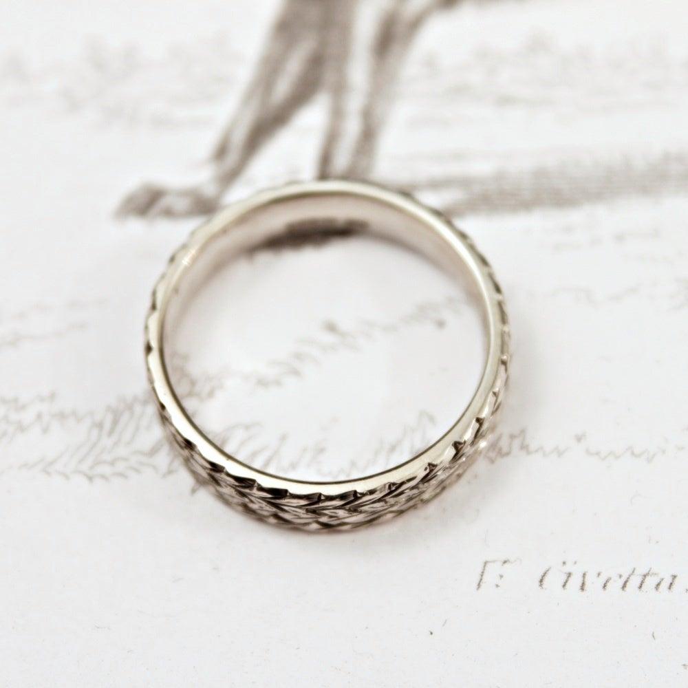 Palladium 5mm Flat Court Herringbone Ring