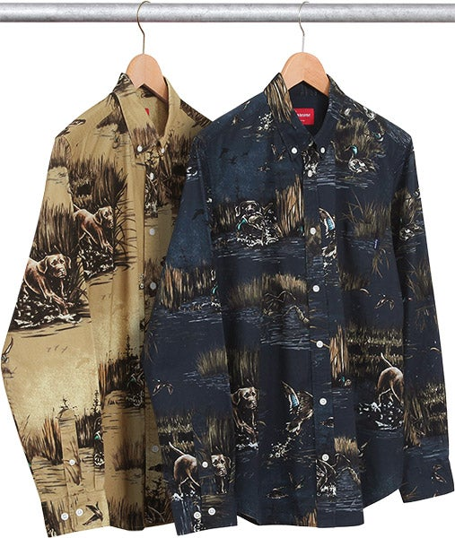 Image of Supreme Dogs & Ducks Button shirt Navy Medium