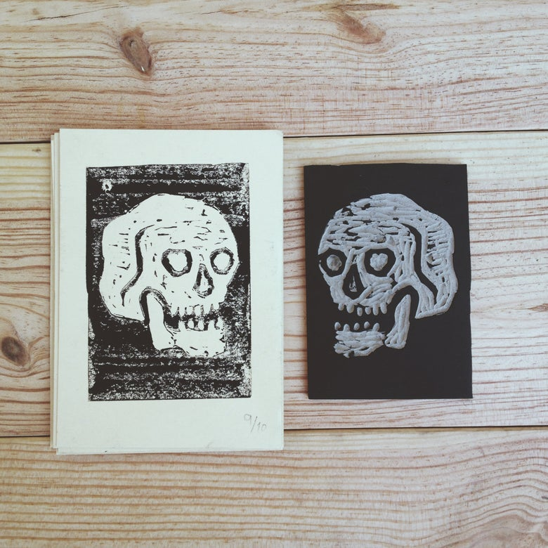 "Image of ""Skull"" Linoprint"