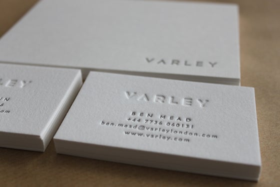 Image of Letterpress Business Cards, on Pure White Cotton stock // made to order - set of 100