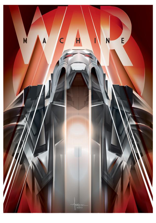 Image of WAR MACHINE-IRONMAN vector tribute