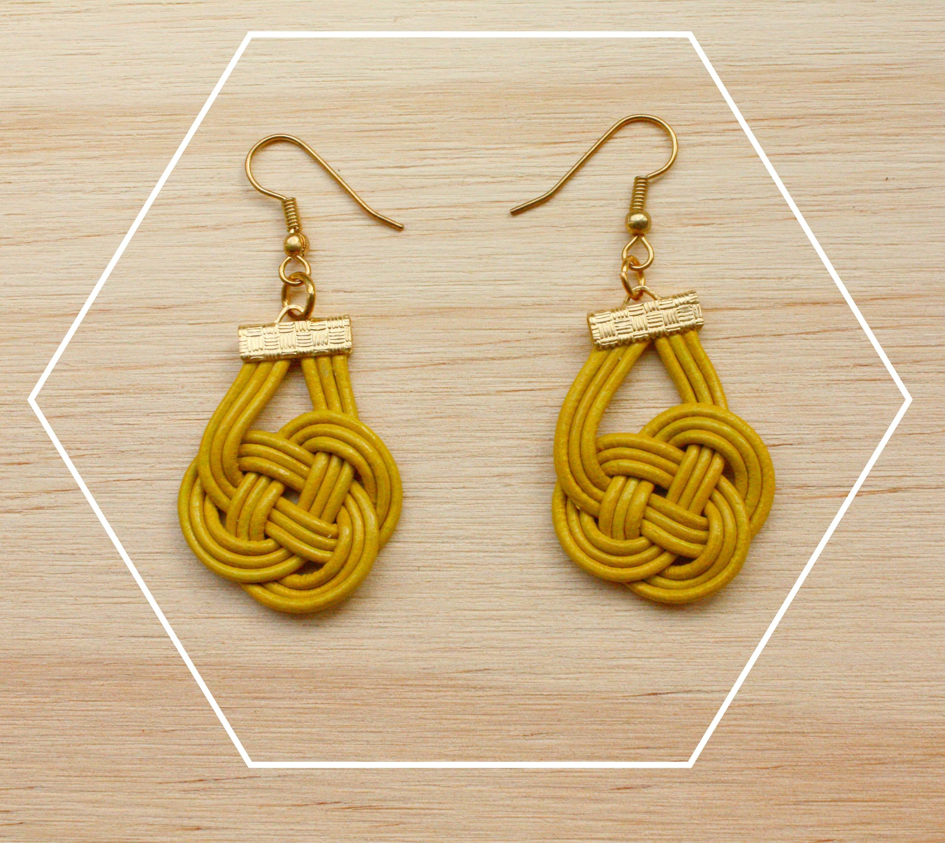 leather cord knotted earrings muntedkowhai