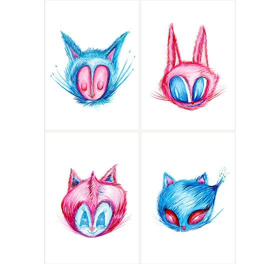 Image of One Cat, Tu Cat, Red Cat, Blue Cat! Set of 4 prints