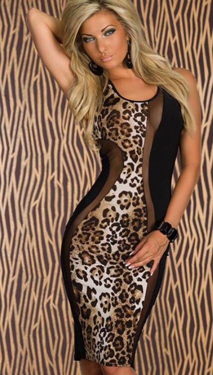 Image of Leopard Mesh Bodycon
