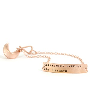 Image of EVERYTHING HAPPENS FOR A REASON - rose gold vermeil fortune cookie bracelet