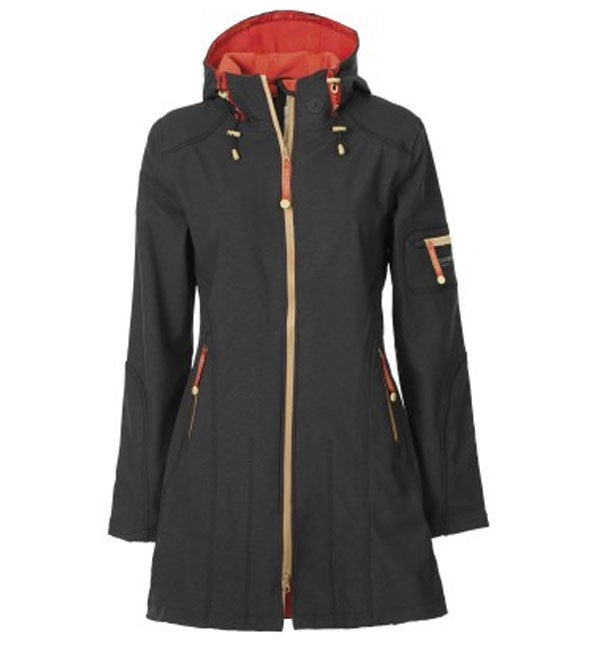 Image of ILSE JACOBSEN 3/4 LENGTH RAINCOAT - Black/Raspberry