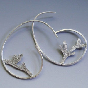 Image of Botanical Branch Hoop Earrings