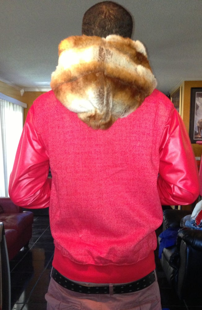 Image of Fur hood zip up hoodie w/leather matching sleeves