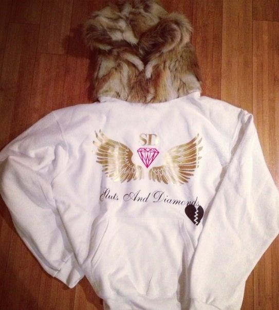 Image of Men Rabbit Fur Hood hoodie in white