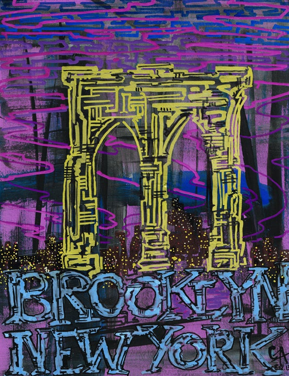 Image of Brooklyn Bridge Skyline - SOLD