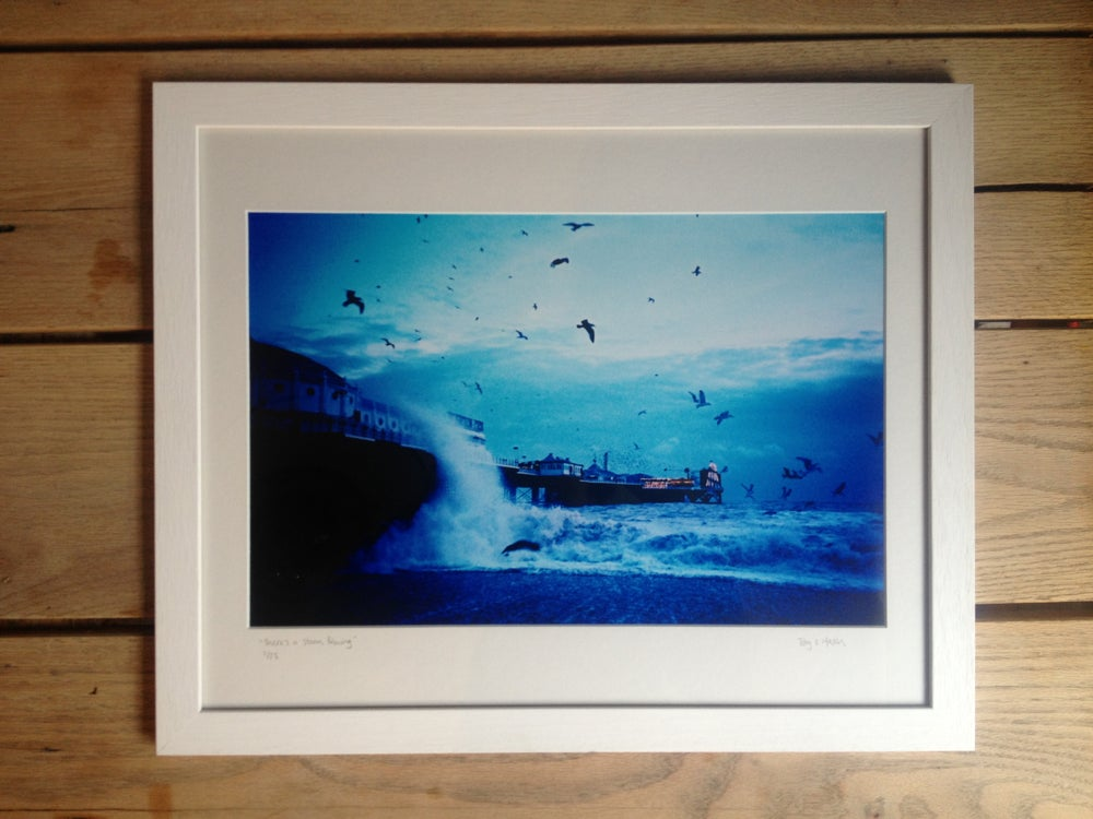 """Image of """"there's a storm brewing"""" limited edition print, framed"""