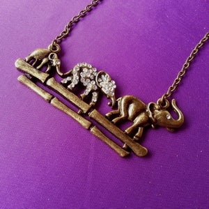 Image of Elephant Family Necklace, SW254
