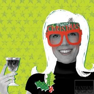 Image of Original Christmas Card Glasses - Merry Christmas