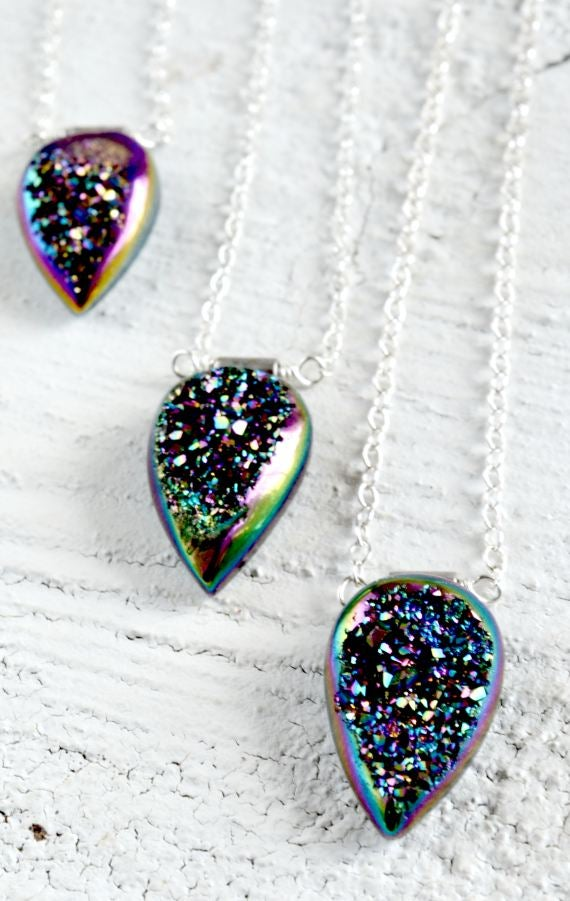 Image of Titanium Druzy necklace - Kauluwela Marquise