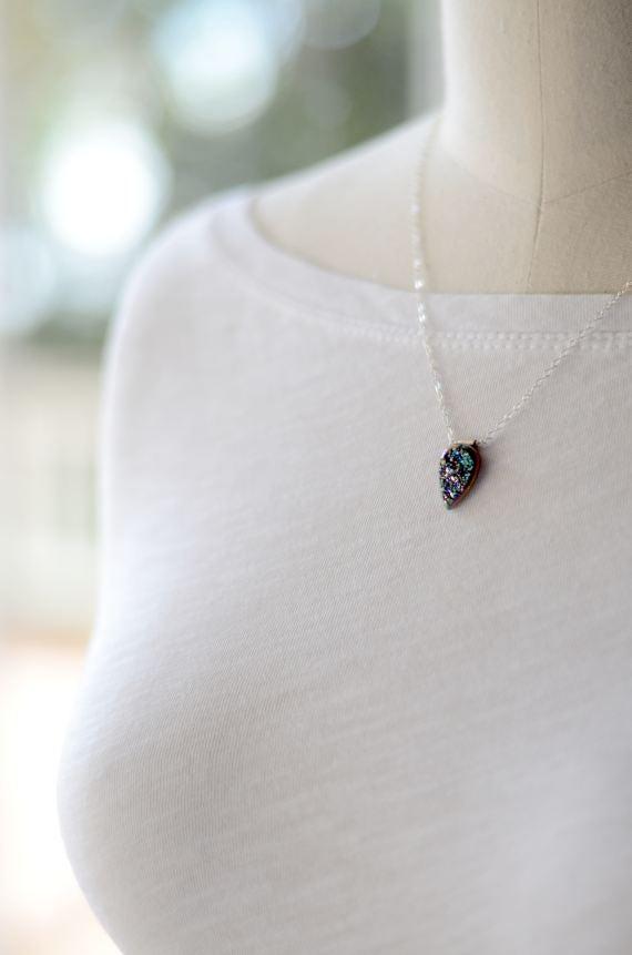 Image of Titanium Druzy necklace - Kauluwela Marquise