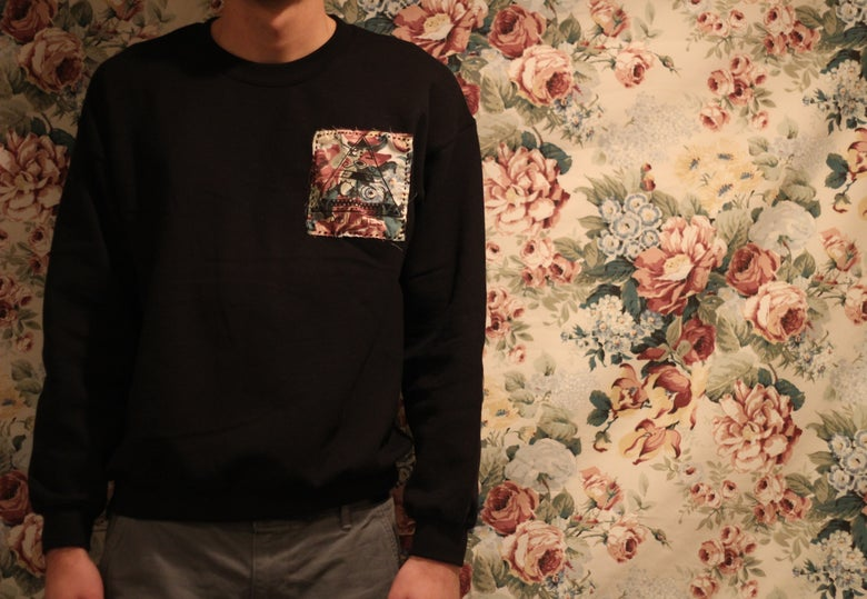 Image of Floral Crew Neck w/ elbow patches