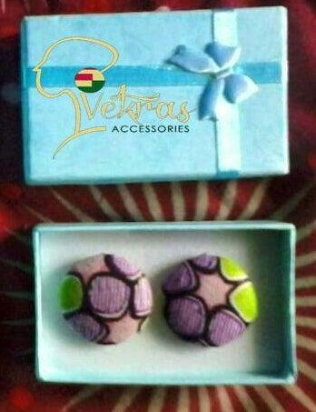 Image of Pink/Green/Purple Ankara Stud Earrings/Ring