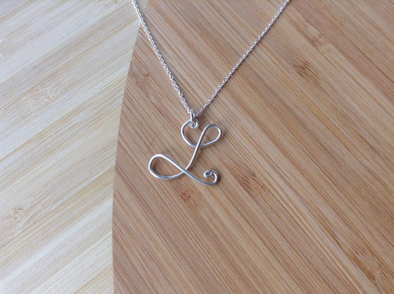 Image of Personalized initial sterling silver necklace
