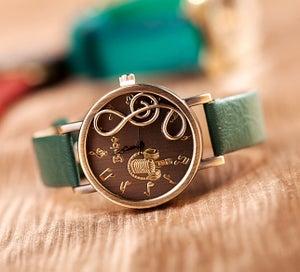Image of Vintage Pastoralism Leather Wrist Watch For Men & Women (WAT0247)