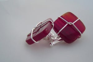Image of carnelian and sterling silver wired cufflinks