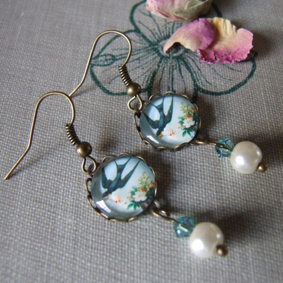 """Image of """"FLYING FOR LOVE"""" Glass Cabochon Earrings"""