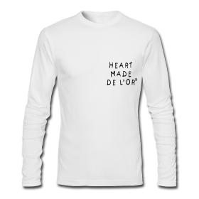 Image of Heart Made Of Gold Logo T-Shirt (Long Sleeve Blanc)