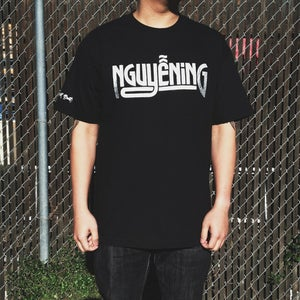 "Image of ""NGUYENING"" SILVER & BLACK T-SHIRT"