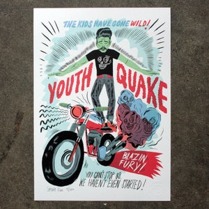 Image of YOUTH QUAKE LIMITED EDITION A3 INDIGO PRINT