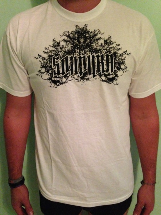 "Image of ""Sondura"" White T-Shirt with Black Logo"