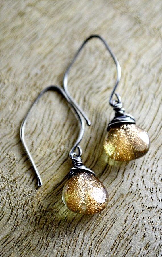 Image of Copper glitter glass earrings
