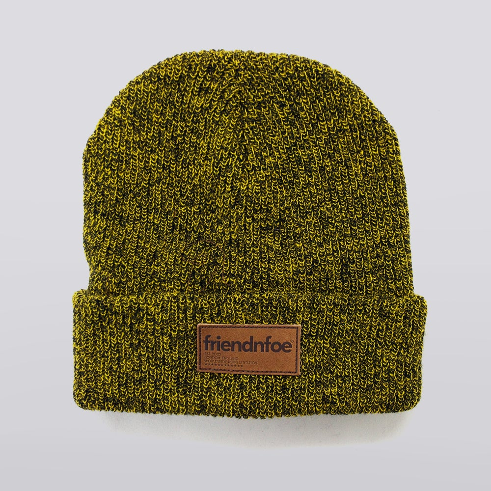 Image of Mustard Heather Leather Patch Beanie