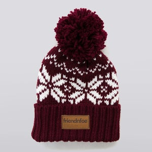 Image of Burgundy Leather Patch Bobble