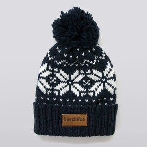 Image of Navy Leather Patch Bobble