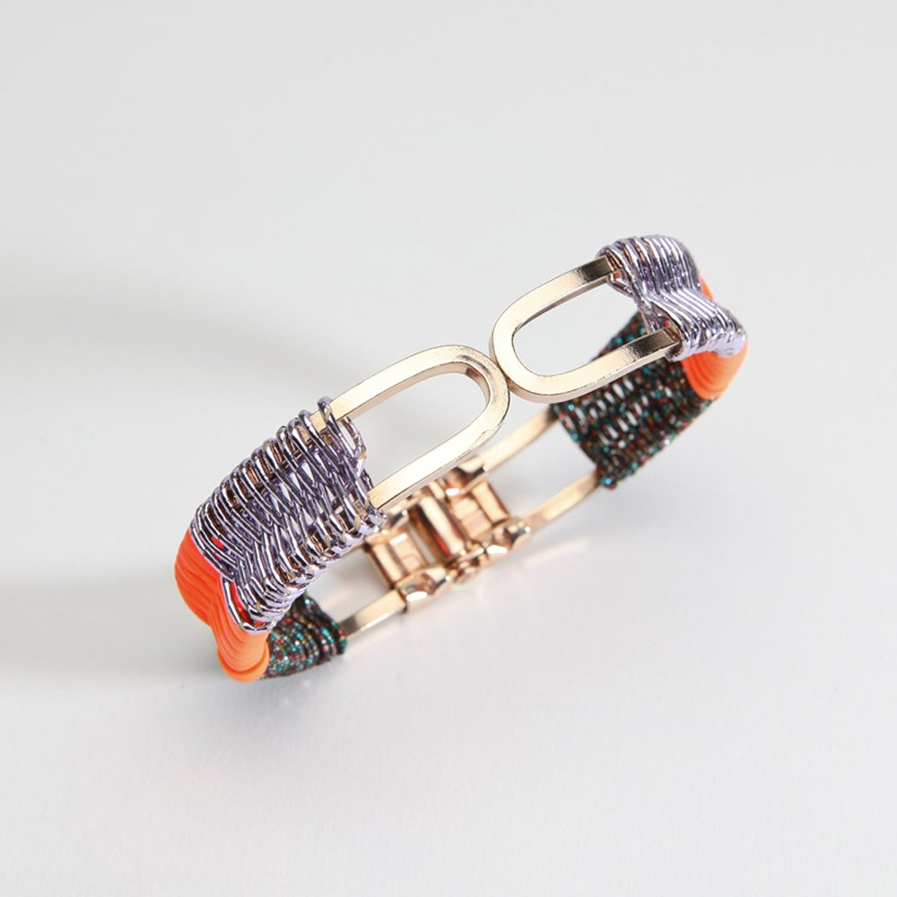 "Image of ""SCOUBIDOU-MIZUHIKI"" BRACELET / lilac-orange-black cosmic"