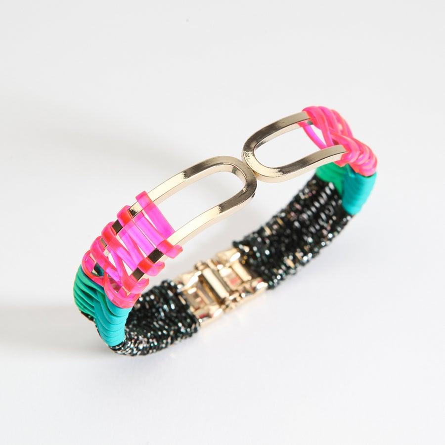 """Image of """"SCOUBIDOU-MIZUHIKI"""" BRACELET / pink-turquoise-black pepit"""