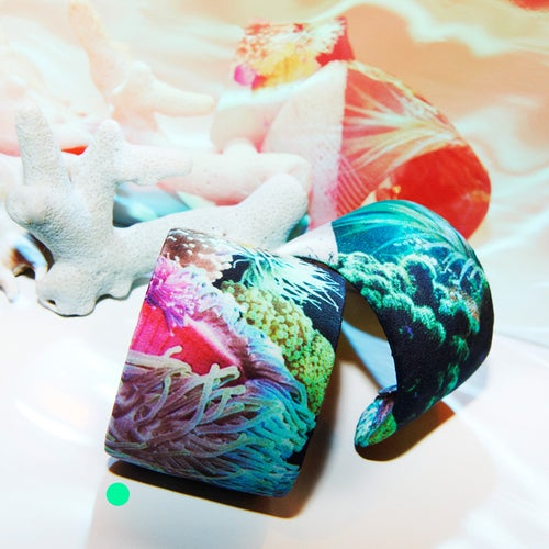 Image of LARGE PRINTED SILK CUFF / SEE ANEMONES