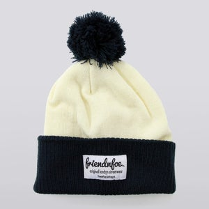 Image of Navy and Cream Cursive Patch Bobble