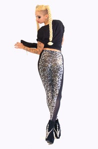 Image of ONIA Leggings in Limited Edition GREY LEOPARD Print with Gold shine
