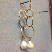 Image of Triple Hoop Earring with Freshwater Pearl