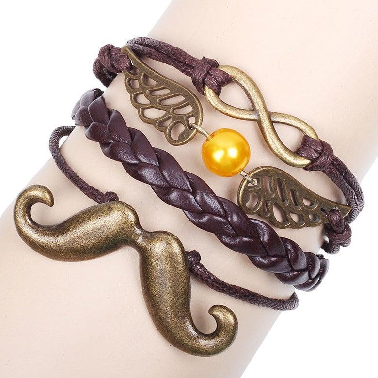 Image of Cool Retro Beard Wings Infinity Bracelet