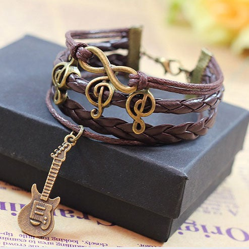 Image of Happy Notes Guitar Brown Infinity Bracelet