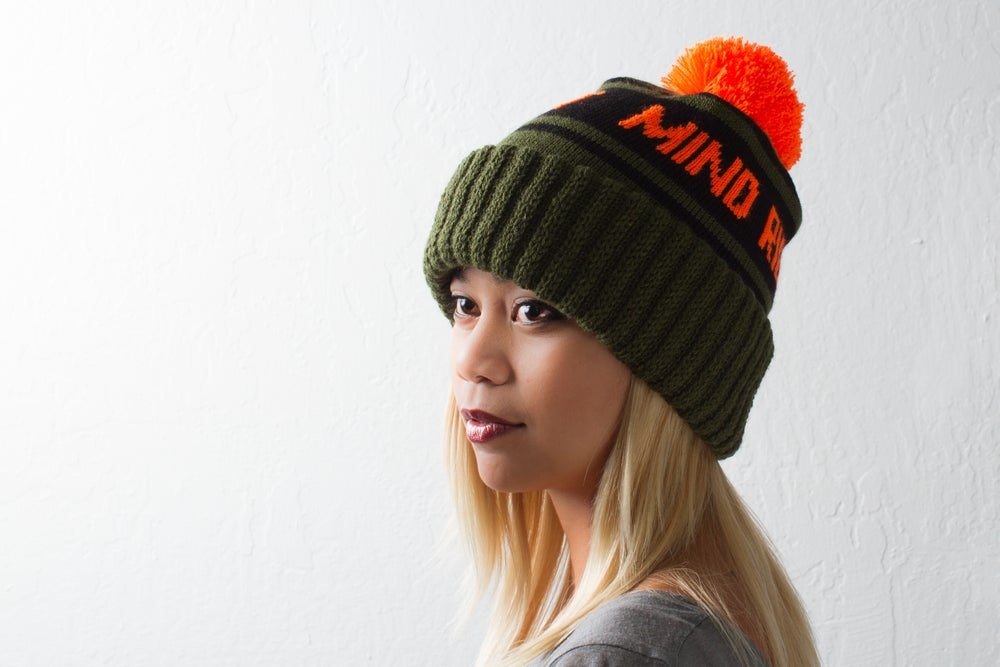 Image of Pom Beanie Olive Green/Flame/Black
