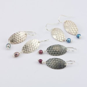 Image of Sterling Silver Pearl Drop Earrings