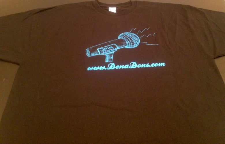 Image of DENA DONS METALLIC BLUE ON BLACK TEE SHIRT