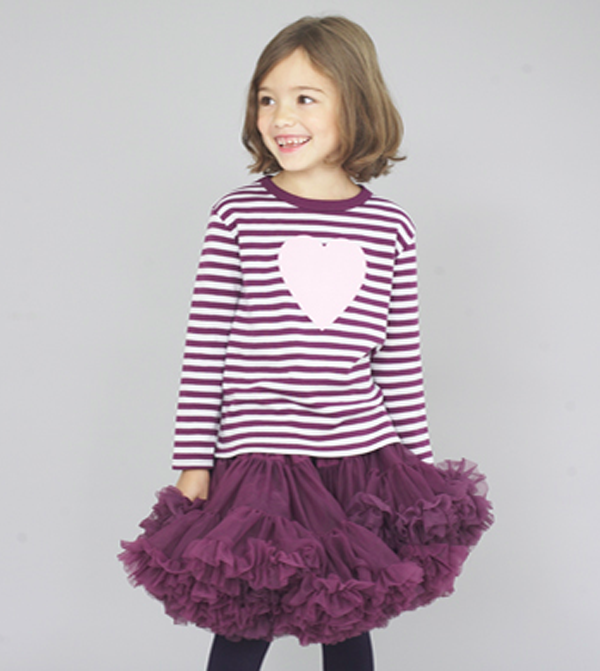 Image of Heart Tee Plum & Dove Grey Striped