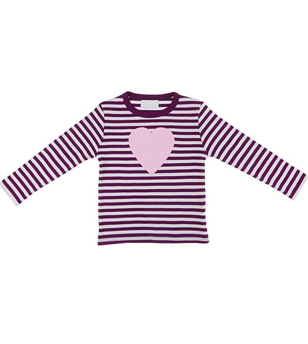 Image of Heart Tee Plum & Dove Grey Striped
